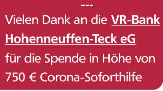Corona-Soforthilfe-Spende der VR Bank Hohenneuffen-Teck eG